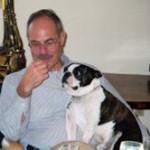 Peter Schiffer and Schiffer Publishing's mascot, George, a Boston bulldog who was Schiffer's constant companion. Image courtesy the Schiffer family.