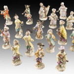 Opera diva Lily Pons once owned this 20-piece Meissen monkey band, which sold Jan. 14 at Dallas Auction Gallery for $20,315 including buyer's premium. Image courtesy Dallas Auction Gallery and LiveAuctioneers.com Archive.