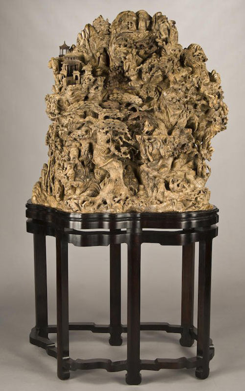 A master carver created this mountain out of a large piece of burl. The unique work sold for $8,963. Image courtesy Dallas Auction Gallery and LiveAuctioneers.com Archive.