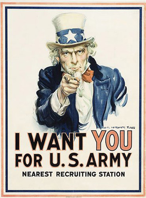 1917 Uncle Sam Recruiting Poster by James Montgomery Flagg (American, 1877-1960), sold for $3500 on June 21, 2008, by Cowan's Auctions Inc. Image courtesy Cowan's Auctions and LiveAuctioneers.com Archive.
