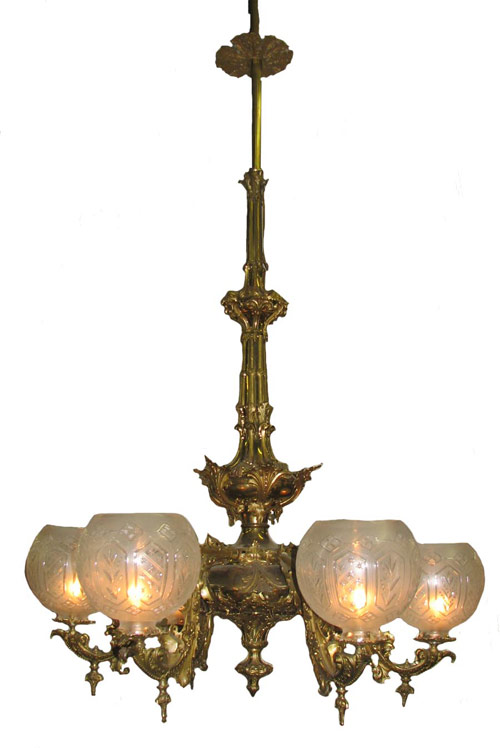 One of more than a dozen gasolier chandeliers to be sold, with at least one by Cornelius & Baker. Image courtesy Hal Hunt Auctions.