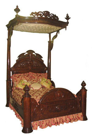 Mitchells & Rammelsberg half-tester bed, with canopy. Image courtesy Hal Hunt Auctions.