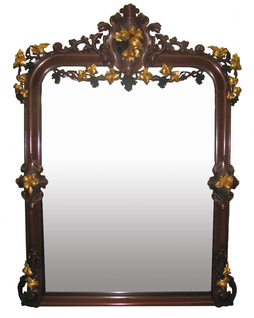 Victorian walnut over-the-mantel mirror. Image courtesy Hal Hunt Auctions.