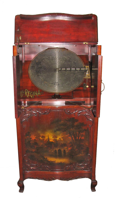 Regina music box in a Vernie Martin case, hand-painted and decorated. Image courtesy Hal Hunt Auctions.