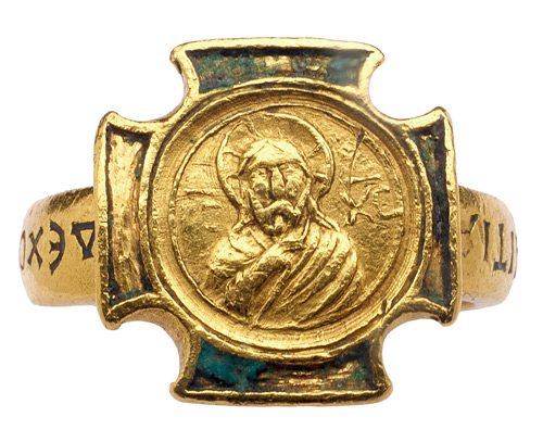 11th-century gold ring with Christ Pantocrator (all sovereign) in relief set in a blue, cloisonné-enameled Greek cross. Image courtesy Les Enluminures - Wartski.