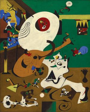 'Dutch Interior (I)' is Miró's rendition of Hendrick Martensz Sorgh's The Lute Player. Done in 1928, this oil on canvas measures 36 1/8 inches by 28 3/4 inches. The Museum of Modern Art, New York, Department of Imaging Services. Copyright 2008 Successio Miró / Artists Rights Society (ARS), New York / ADAGP, Paris.
