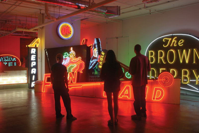 The Museum of Neon Art preserves classic signs of the past and organizes exhibitions by contemporary artists. Courtesy Museum of Neon Art, Los Angeles, image by Tom Zimmerman.