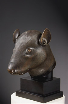 Bronze head of rat from Zodiac Fountain, Summer Palace of Emperor Qianlong, Qing Dynasty (1736-1795). Courtesy Christie's Images Ltd.