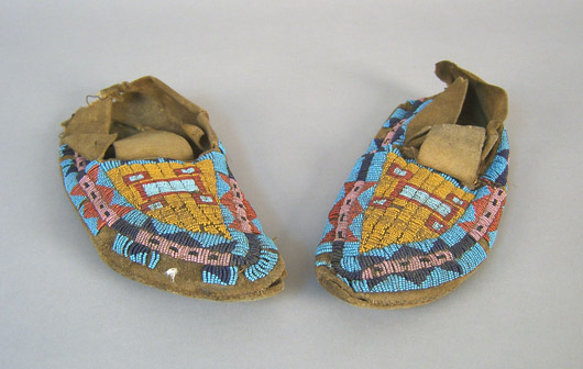 A pair of Plains Indian beaded moccasins dates to the early 1900s. Image courtesy Pook & Pook.