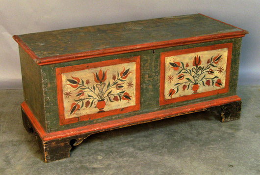 At just 40 inches wide and 19 inches high, this Pennsylvania painted dower chest is one of the smallest examples of this category in the auction. Image courtesy Pook & Pook.