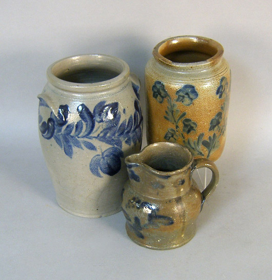 Cobalt-decorated stoneware will be sold at Pook and Pook's Variety Sale on Feb. 26-27. Image courtesy Pook & Pook.