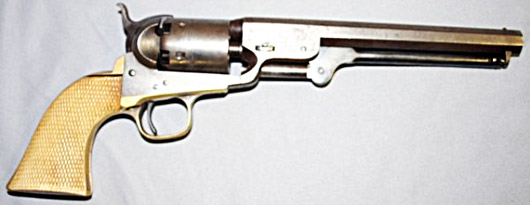 1851-model Colt Navy pistol with factory ivory grips. Estimate: $2,000-$4,000. Courtesy Turkey Creek Auctions.