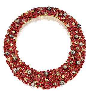 A Tony Duquette necklace of coral, citrine quartz and cultured pearls, with a presale estimate of $18,000-$20,000, sold at Sotheby's in 2006 for $45,000. Image courtesy of Sotheby's