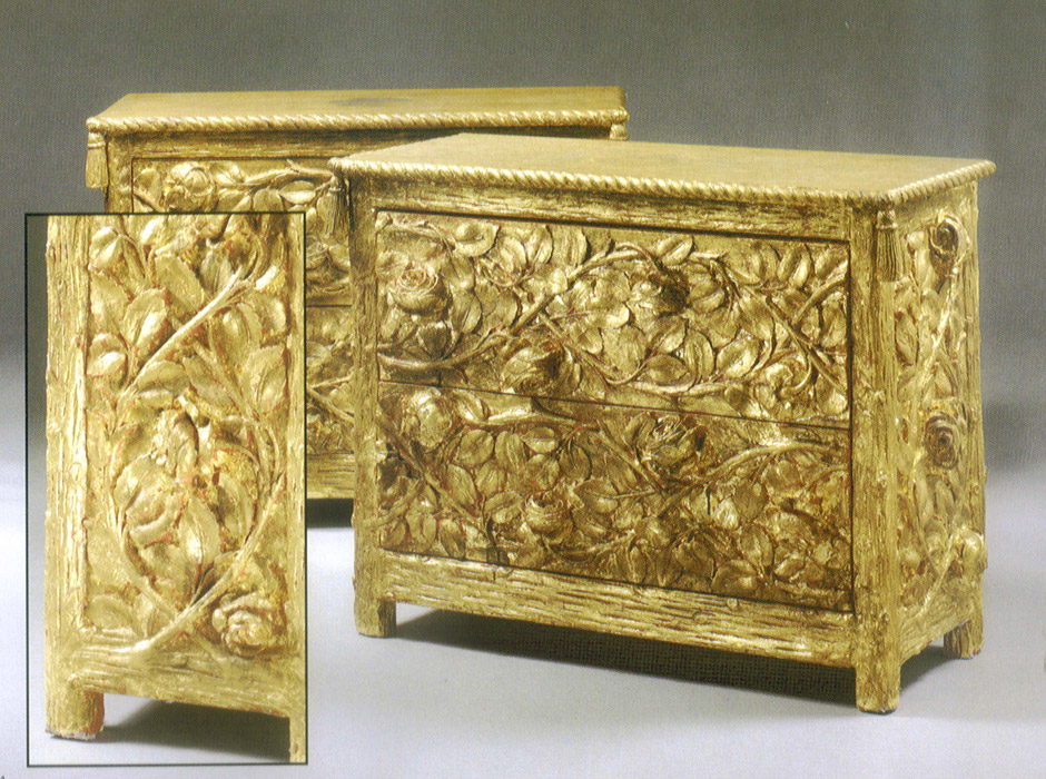This original Tony Duquette cast-resin rose chest from the 1940s is sometimes found at auction. He made about 24 pieces of this design in 1980. Image courtesy Hutton Wilkinson, Tony Duquette Inc.