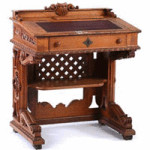 This carved oak desk was used by a U.S. congressman sometime after 1857. It was probably made in Boston. It auctioned for $10,158 at Sloans & Kenyon in Chevy Chase, Md.