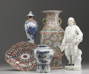Highlights include 19th-century Chinese export covered tureens, a circa-1800 5-piece garniture set, and examples from the 18th century. Image courtesy Rago Arts.