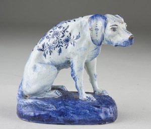 This Delft figure of a seated dog, circa 1800, could fetch $500-$800. Image courtesy Leland Little Auctions.