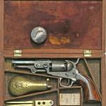Colt 1849 Pocket Model engraved firearm, exhibition grade. Estimate: $40,000-$60,000. Image courtesy Manitou Galleries.