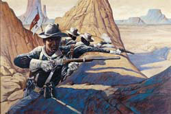 Bobb Vann's 'The Victorio Campaign' depicts Buffalo Soldiers in action in New Mexico in 1879-1880. The 1993 oil on canvas is 24 by 36 inches. © Bobb Vann. Image courtesy Booth Western Art Museum.