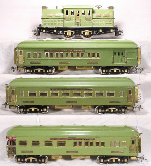 Near the end of the line for Ives, this Northern Limited passenger set from 1928 is considered rare. It carries an estimate of $5,000-$15,000. Image courtesy New England Toy Train Exchange.