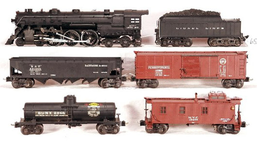 The original owner of this Lionel 763E freight set kept it displayed on a fireplace mantel for 60 years. It is expected to sell for as much as $4,000. Image courtesy New England Toy Train Exchange.