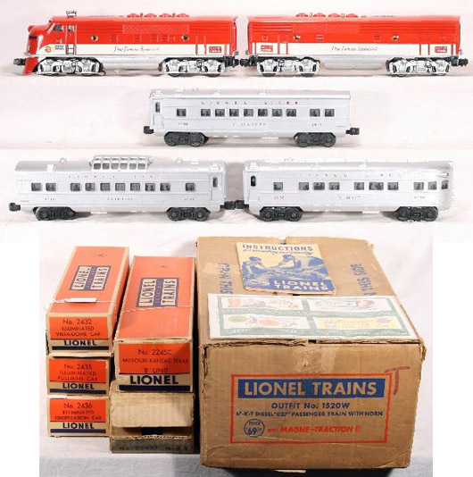 In near-mint condition, this boxed Lionel set 1520W appears never to have been run. It is estimated to bring $2,000-$3,500. Image courtesy New England Toy Train Exchange.