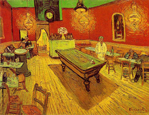 'The Night Cafe' by Vincent Van Gogh. Image courtesy Wikipedia.