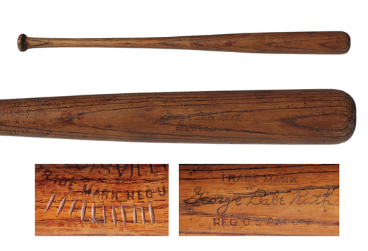 Babe Ruth's bat from the 1926-1929 period, which he carved with 11 notches to represent 11 home runs. Image courtesy Grey Flannel Auctions.