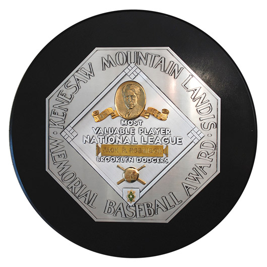 Jackie Robinson's 1949 Brooklyn Dodgers National League MVP Award, as important to African-American history as it is to baseball history. Image courtesy Grey Flannel Auctions.