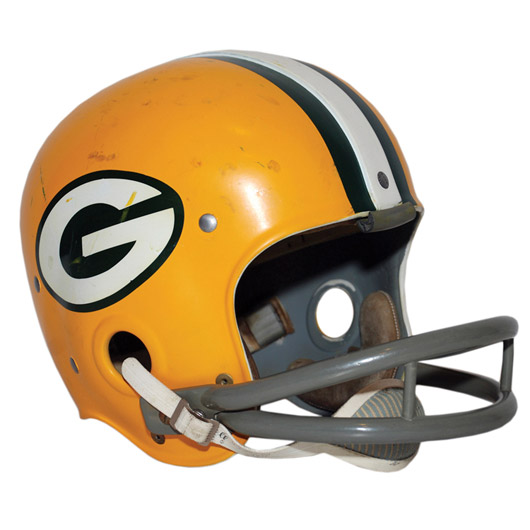 Circa-1963 Paul Hornung Green Bay Packers game-used helmet. Image courtesy Grey Flannel Auctions.