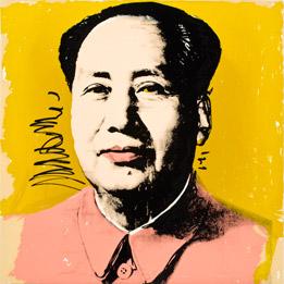 Mao Tse-Tung (Peach) by Andy Warhol, 1972, silkscreen, estimate $50,000-$80,000. Courtesy MOCA.