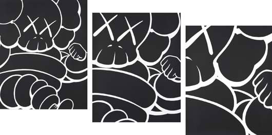 Running Chums, set of 3 screenprints, 2000, by KAWS. Estimate $15,000-$20,000. Courtesy Phillips de Pury & Co.