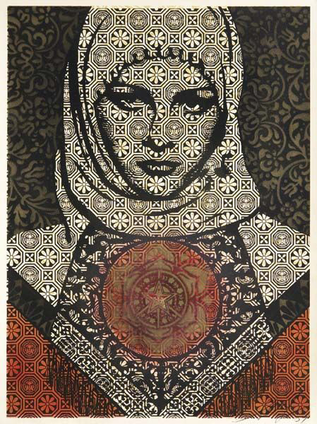 Untitled (Arab Woman), stenciled spray paint and screenprint on paper, 2006, by Shepard Fairey. Estimate $4,000-$6,000. Courtesy Phillips de Pury & Co.
