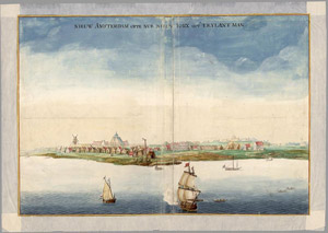 Painting depicting New Amsterdam as it looked in 1664. Public domain image, courtesy Wikipedia Commons.
