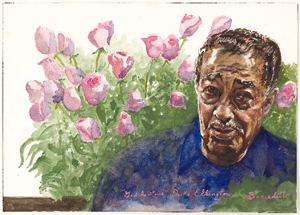 Portrait of Duke Ellington by Tony Bennett. Circa 1993, watercolor and graphite on paper. Courtesy National Portrait Gallery, Smithsonian Institution; Gift of Tony Bennett.