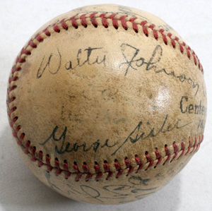 Walter Johnson and George Sisler were among the first players inducted into the Baseball Hall of Fame. Image courtesy DuMouchelles.