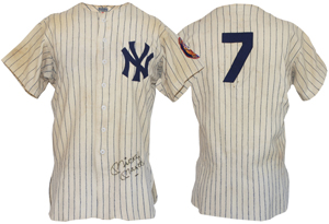 From 1952, the earliest known Mickey Mantle game-used New York Yankees home jersey finished at the top of prices realized, earning $188,318.40.