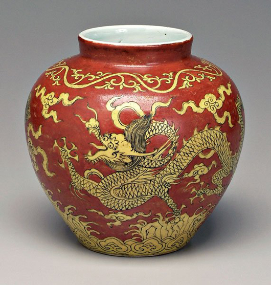 Chinese decorated jar thought to be an 18th- or 19th-century copy of a Jialing Period (1522-1566) ceramic, sold for $69,000 against an estimate of $600-$1,200. Photo courtesy LiveAuctioneers Archive/Brunk Auctions.