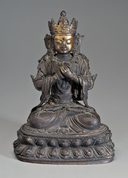 A finely cast 18th- to 19th-century bronze of the Bodhisattva Maitreya, future Buddha of this world, 12¾ inches tall. Sold through LiveAuctioneers for $9,676. Photo courtesy LiveAuctioneers Archive/Brunk Auctions.