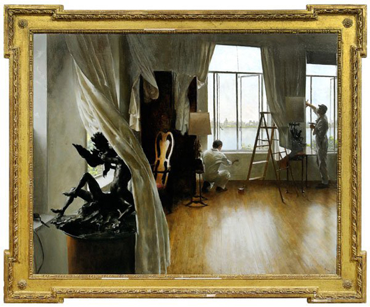 The Plasterers by New York City artist John Koch (1909-1978), 40 inches by 49 7/8 inches, oil on canvas in a Kent-style frame, sold for $241,500, the midpoint of its presale estimate. Photo courtesy LiveAuctioneers Archive/Brunk Auctions.