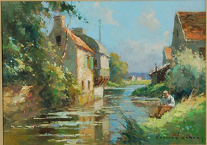 The Sunny Bank, Edouard Cortès, oil on canvas, 12 inches by 17 inches sight. Estimate $20,000-$30,000. Image courtesy LiveAuctioneers/Cordier Antiques & Auctions.