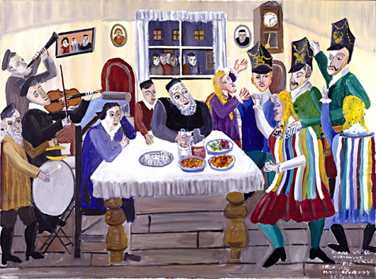 Mayer Kirshenblatt painted 'the Krakow Wedding' about 1994. The acrylic on canvas is from the collection of Barbara Kirshenblatt-Gimblett and Max Gimblett, New York. Image courtesy of Barbara Kirshenblatt-Gimblet. Copyright 2009 Mayer Kirshenblatt.