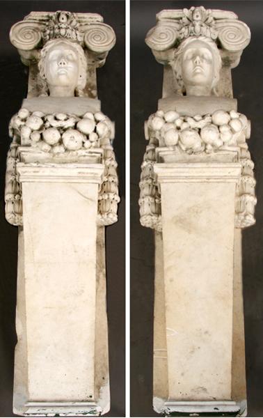 Marble caryatids. Image courtesy Kamelot Auctions, Philadelphia.