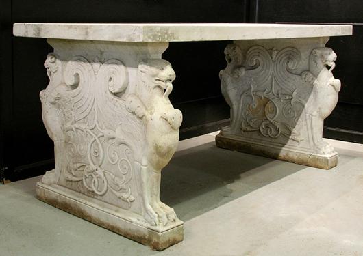 Marble table. Image courtesy Kamelot Auctions, Philadelphia.