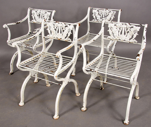 Regency-style iron chairs. Image courtesy Kamelot Auctions, Philadelphia.