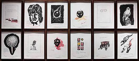 Raymond Pettibon, Jots and Titles portfolio, 1998. Estimate $40,000-$50,000. Image courtesy LiveAuctioneers.com/Santa Monica Auctions.