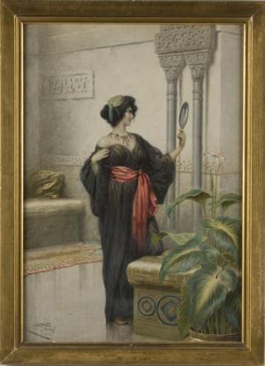 Watercolor by the Italian painter Giuseppe Aureli (1858-1929). Image courtesy Leland Little Auction & Estates Sales Ltd.