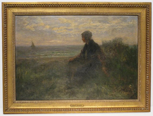 Oil-on-board painting of young woman on shore, by Josef Israels (Dutch, 1824-1911), $20,700. Image courtesy Gordon S. Converse & Co.