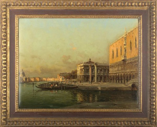 'View of the Doge's Palace and the Piazza San Marco, Venice' is the work of Marc Aldine (French, 1870-1956). The signed oil on canvas painting measures 19 3/4 by 25 3/4 inches.