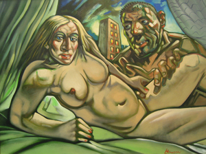 Madonna and Guy, oil on canvas by Peter Howson, 2005. Image courtesy McTear's Auctioneers.